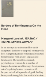 Margaret Lansink's 'Borders of Nothingness: On the Mend' chosen for Summer books of 2020: Photography