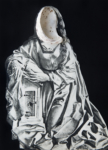 Laurence Aëgerter, Vierge de l'Annonciation - Tilmann Riemenschneider, 2020, from the series Louvre Plage.Hahnemühle Fine Art print, 80 x 57.6 cm, maple tray frame, ed. 6 + 2 AP. Also available in: 26 x 20 cm, printed on Ilford smooth pearl paper, ed. 3 + 2 AP
