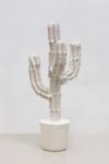 Maura Biava, Magic Heptagram #04, 2021   Ceramic, iron, plaster, glue, silicon   140 x 76 cm   Pedestal 60 x 57 cm, wood, glue, paint, varnish   Unique